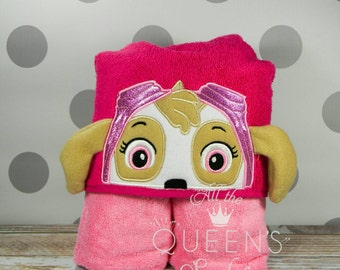 Kid's Hooded Towel - Helicopter Pilot Dog Hooded Towel with 3D ears for Bath, Beach, or Pool