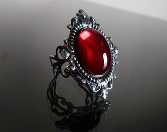 Victorian gothic ring - Ruby red ornate filigree steampunk ring - adjustable SINISTRA ring