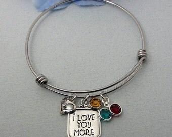 Personalized Bracelet - I Love You More Bracelet - Hand Stamped Bracelet - Adjustable  Bracelet - Message Bracelet - Silver Bracelet