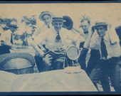 vintage photo Cyanotype Straw Hat Men Hold your Hats Indian Motorcycle Side Car