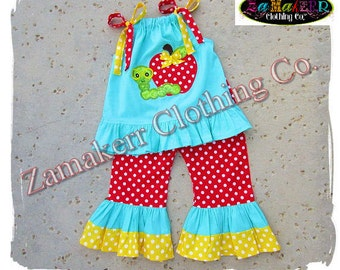 Girl Back To School Outfit Apple Clothing Pageant 24 MONTH SIZE 2T 3T 4T 5T 6 7 8 School Bus 1st day of Kindergarten Preschool Top Pant Set