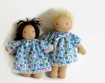 7 to 8 inch Waldorf doll floral cotton flannel nightgown, Waldorf doll clothes, tiny doll nightgown, handmade doll clothing