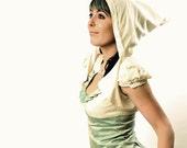 Hooded Wedding Bolero - White wedding bolero, Cropped hooded bolero in YOUR SIZE