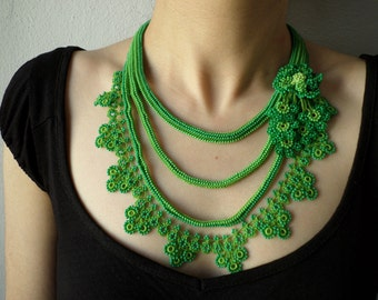 Beaded crochet statement necklace with lime green and shamrock green seed beads and crocheted flowers