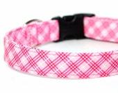 Pink dog collar - Plaid, Tartan - Farmgirl Plaid