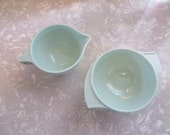 Vintage Cream Pitcher & Sugar bowl set Boonton Melmac Mint Green Swirl handle Atomic
