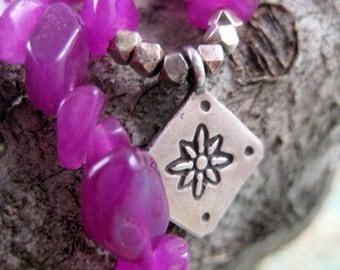 Tibetan Flower Pendant on Vibrant Fushcia Dyed Jade Beaded Strand