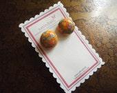 Orange Floral Vintage Japanese Gold Plated Stud earrings