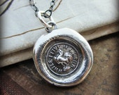 """Rooster """"While I Live I'll Crow""""  Wax Seal Necklace -  Courage and Perseverance - V1275"""