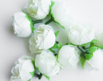 Set of 10 Mini Roses in WHITE  -- MINIATURE Sweetheart Silk Artificial Roses - ITEM 0949