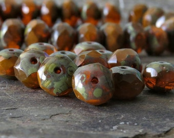 Opal Orange Picasso Brick Czech Glass Bead Faceted 8x6mm Rondelle : 12 pc