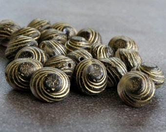 Jet Black Gold Oval Swirl Czech Glass Bead 10mm : 12 pc Czech Black 10mm Oval
