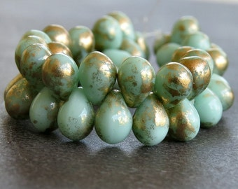 5x7mm Mint Green Gold Czech Glass Bead Teardrop :  Full Strand 50 pc Mint Teardrop