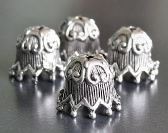 Fluted Ric Rac Antique Pewter 10mm Bead Cap : 4 pc Large Silver Beadcap