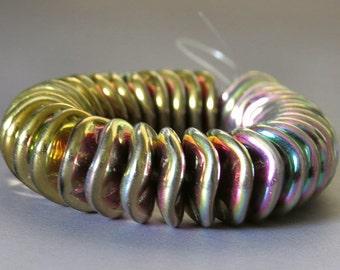 California Green 12mm Ripple Czech Glass Bead : 10 pc Gold Green Wavy Disc Bead