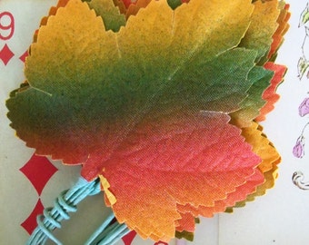 Vintage / Autumn Maple Leaves / One Dozen / Fabric / Made in Japan