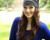 Gray Headband, Womens, Extra Wide, Gray Headwrap, Bandana Hairwrap, Yoga Headband, Headwrap Head Band, Big Wide Head Wrap, Turban Headband
