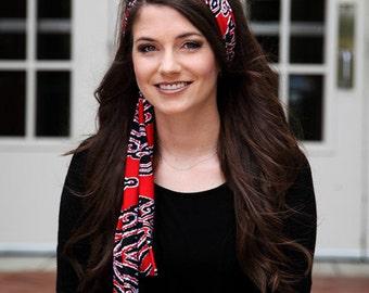 Long Headband, Long Head Band, Stretchy Headband, Stretchy Head Band, Tie On Headband, Ties in the Back, Dressy Headband, Red Headband