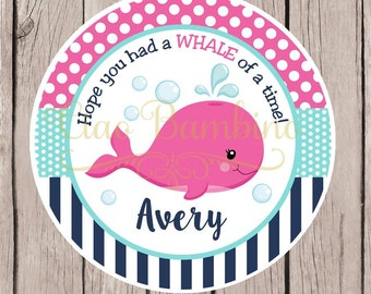 Pink Whale Birthday Party Favor Tags or Stickers / Personalized Whale Stickers or Tags in Pink, Navy Blue and Aqua / Set of 12 - 0029