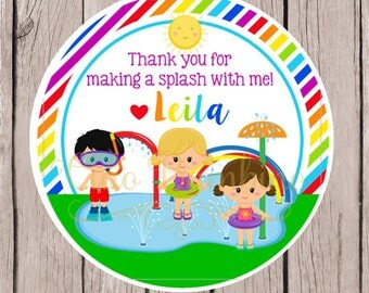 Splashpad Favor Tags or Stickers / Splash Park Birthday Party / for Boys or Girls / Set of 12
