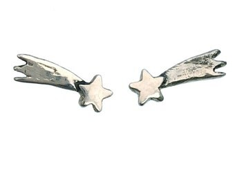 Star Earrings       stud shooting post silver gold jewelry sterling small