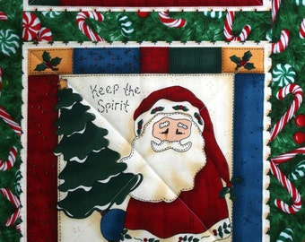 Snowman Christmas Wall Hanging, Table Runner, House Cabin, Santa, Quiltsy Handmade