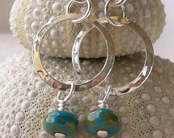 Women's Earrings - Dangle Earrings - Lightweight Earrings - Silver Earrings - Beaded - Indigo Blue Czech Glass and Hammered Silver Earrings