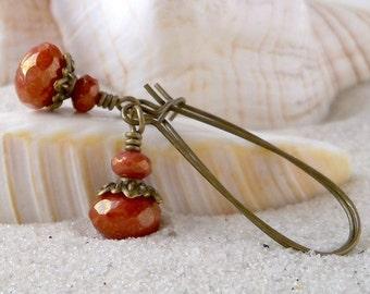 Orange Earrings - Long Earrings - Glass Beaded Earrings - Dangle Earrings - Antique Brass Earrings - Orange Bead Earrings - Women's Earrings