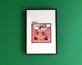 Art, Fantastic Mr Fox, Print, Ash, Toothbrush, 4 x 6 inches, Wes Anderson, movies, film geek, Jason Schwartzman, framed artwork, wall decor