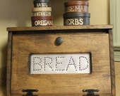 Rustic Bread Box Bin wooden Punched Tin Storage Primitive Cupboard counter top Country Kitchen handmade wood bread holder