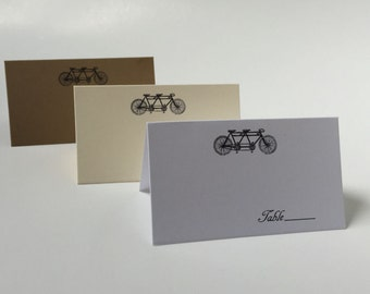 Bike Wedding Place Cards, Tandem Bicycle Escort Cards, Find Your Seat, Wedding Escort Cards, Bike for Two Cards, Stand Up Place Cards, E001