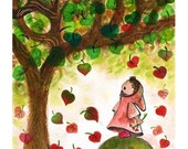 approaching of  the love season  ( Print ) whimsical, girl, red, tree, wall art
