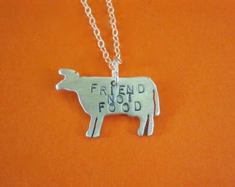 Mini Friend not Food Cow Necklace-Vegan Necklace-Vegan Jewelry-Gift-Birthday-Anniversary-Personalized-Farm Animal Necklace-Eco Friendly