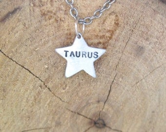 Zodiac Necklace-Taurus-Star Sign Star Astrology Necklace-Vegan Necklace-Vegan Jewelry-Eco Friendly-Horoscope-Recycled Metals