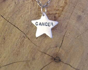 Zodiac Necklace-Cancer-Star Sign Star Astrology Necklace-Vegan Necklace-Vegan Jewelry-Eco Friendly-Horoscope-Recycled Metals