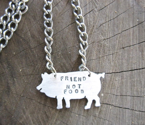 Father's Day-Vegan-Men's-Friend not Food-Pig Necklace-Ethical Jewelry-Animal Lover-Vegan Dad-Plant Based-Eco Friendly-Birthday-Anniversary