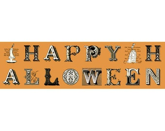 Sew Scary - Fabric From Quilting Treasures - Pumpkin - Letters - #23859 - 3.35 For One Panel