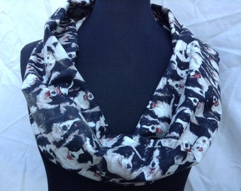 Lightweight Infinity Circle Scarf Made From Border Collie Fabric Single Loop