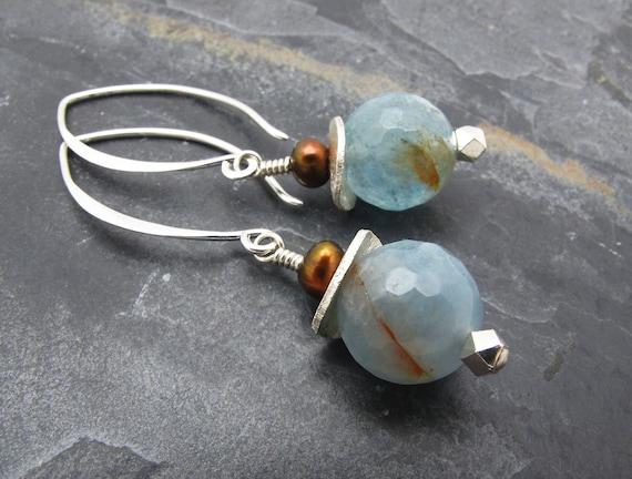aquamarine earrings gemstone earrings dangle earrings drop earrings blue earrings March birthstone aquamarine gift pearl earrings pale blue