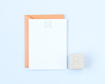 Simple Initials Rubber Stamp Love and Wedding Invitations