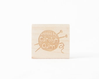 Knitted By Yarn Ball Rubber Stamp Personalized Gift for Knitters