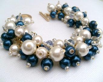 Bridal Jewelry, Midnight Blue and Ivory Wedding, Pearl Bridesmaid Bracelet, Navy Blue Jewelry, Chunky Cluster Bracelet, Pearl Bracelet, Gift