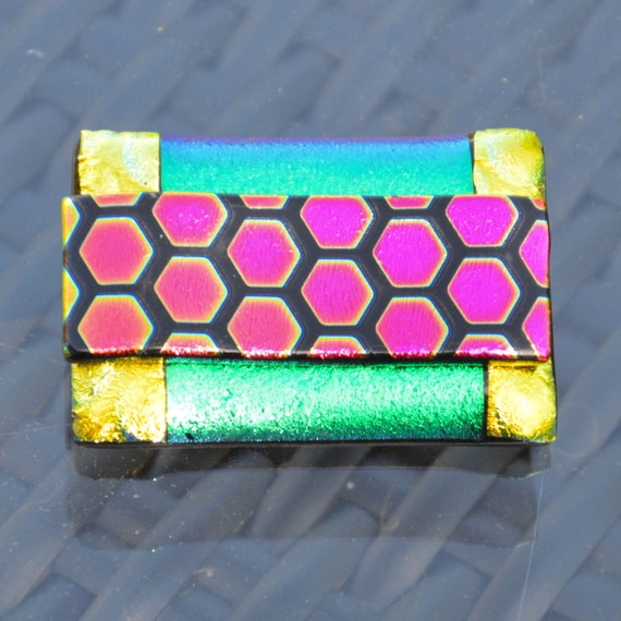 Large Dichroic Glass Brooch - Layers of Funky Bright Colours - Sterling Silver Pin Fitting - Oblong Honeycomb Pattern - Gift Box