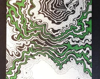 ACEO, Ink, Sharpie, Doodle, Design, Green, Black, Artist Trading Card