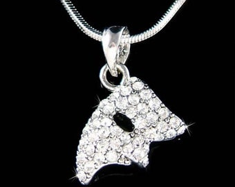 Swarovski Crystal Clear Phantom of the Opera Play Broadway Masquerade Mask Pendant Charm Necklace Jewelry Christmas Best Friend Gift New