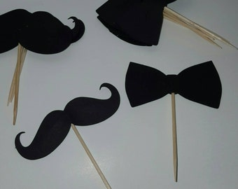 Little Man Mustaches and Bowties Cupcake Toppers (set of 12)