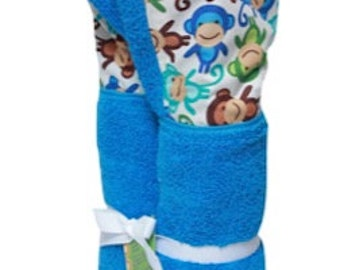Personalized Blue Monkeys on medium blue hooded towel.