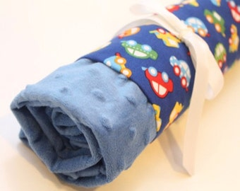 Personalized Tiny Cars on Electric Blue Minky Baby Blanket