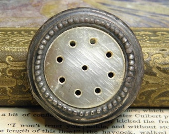 Vintage Sterling Shaker Top Mother of Pearl Inset with Holes