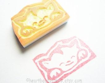 Hand carved rubber stamp, Sweet Dreams Cat, scrapbooking craft, keshigomu, id1340592, unmounted, kawaii eraser hanko, neko